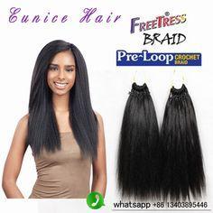 Synthetic braiding hair prelooped yaki straight crochet freetress braids