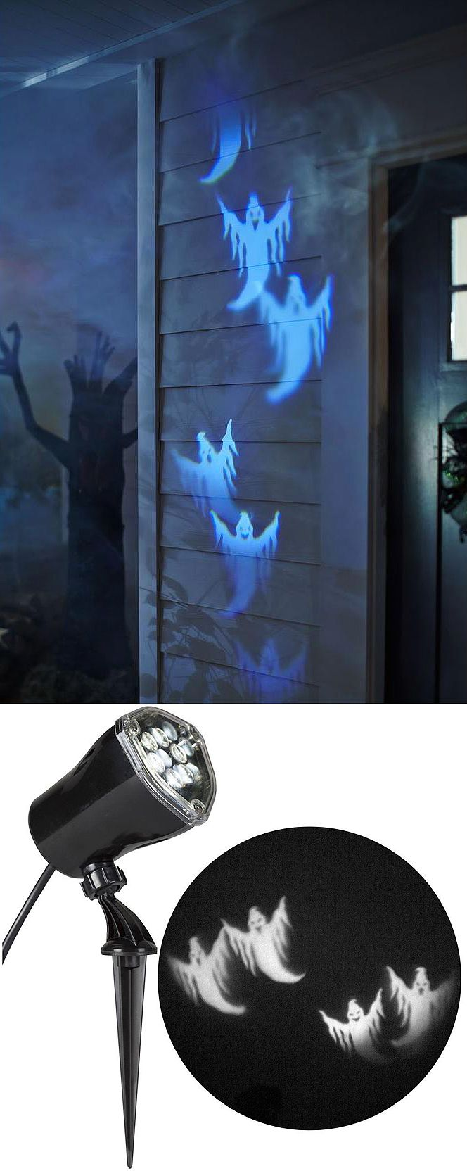 Liven up your Halloween decor with LightShow Projection scenes featuring ghosts.