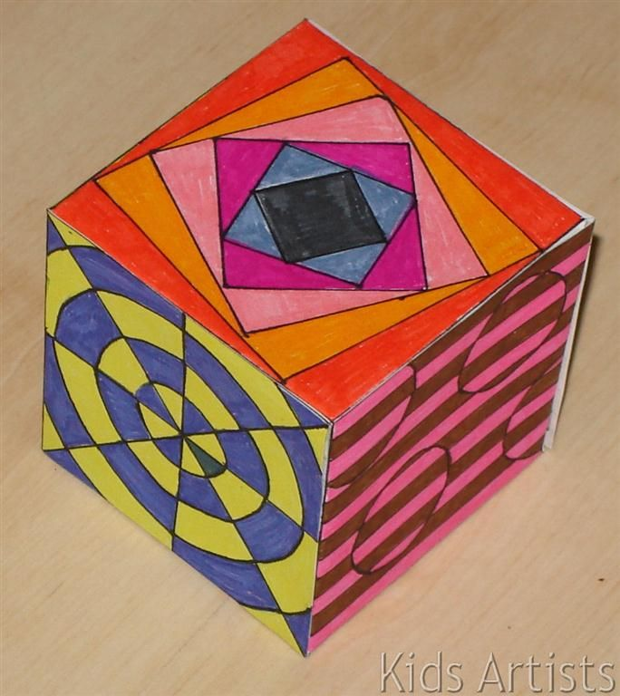 Kids Artists: Op art cube - perhaps enlarge to giant display cubes?