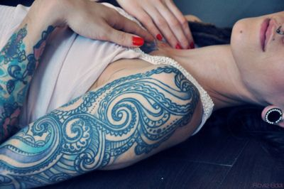 : Tattoo Ideas, Blue Ink Tattoo, Tattoo Sleeve, Sleeve Tattoo, Half Sleeve, Tattoo Patterns, Waves Tattoo, Tattoo Design, Blue Tattoo