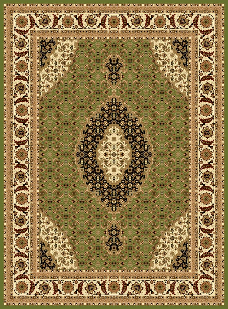 2-Piece Set | Antique Persian Empire Traditional Rugs In Green with Rug Pad