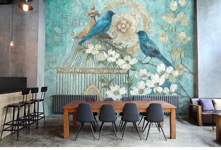 Бесплатная доставка ручная роспись ретро птица и цветок обои гостиной спальня большая купить на AliExpress