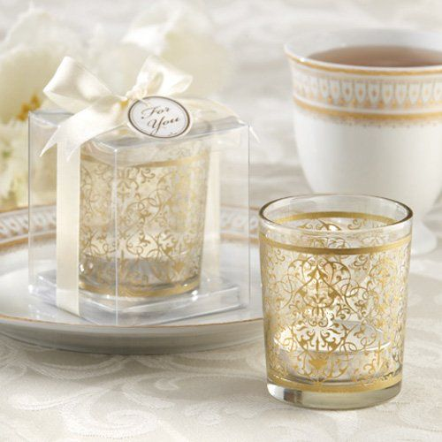 Add a golden touch to your special day with these golden renaissance glass tea light holder.