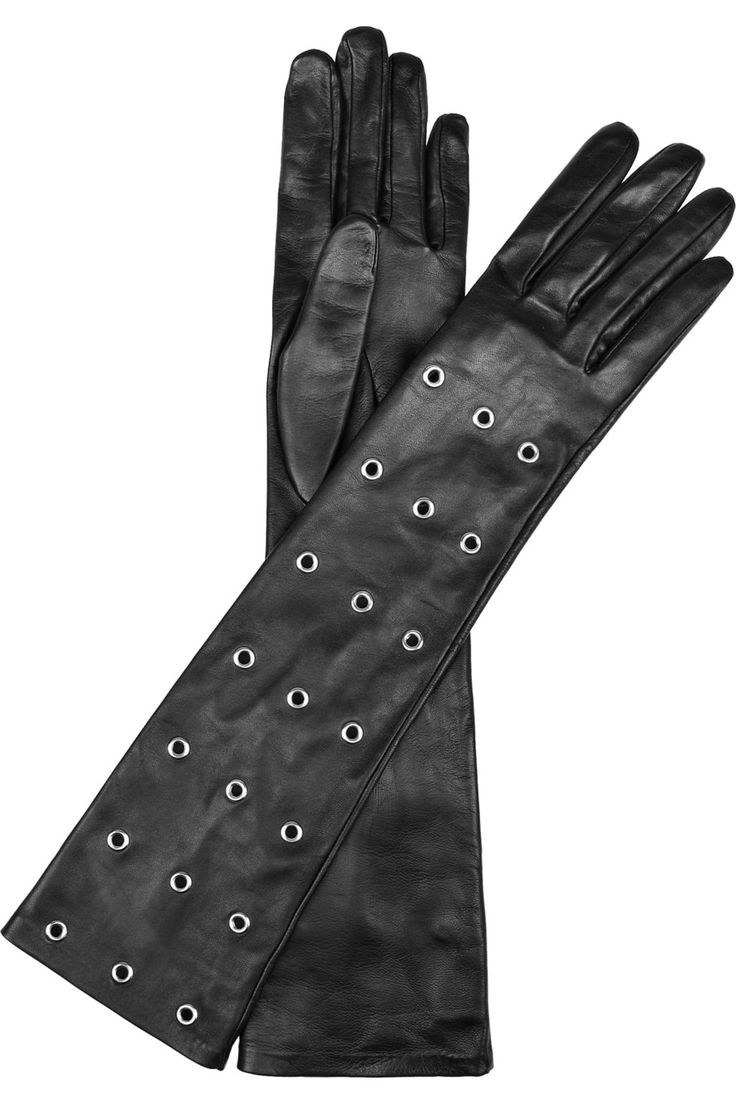 Long black leather gloves prices - Causse Gantier Embellished Long Leather Gloves