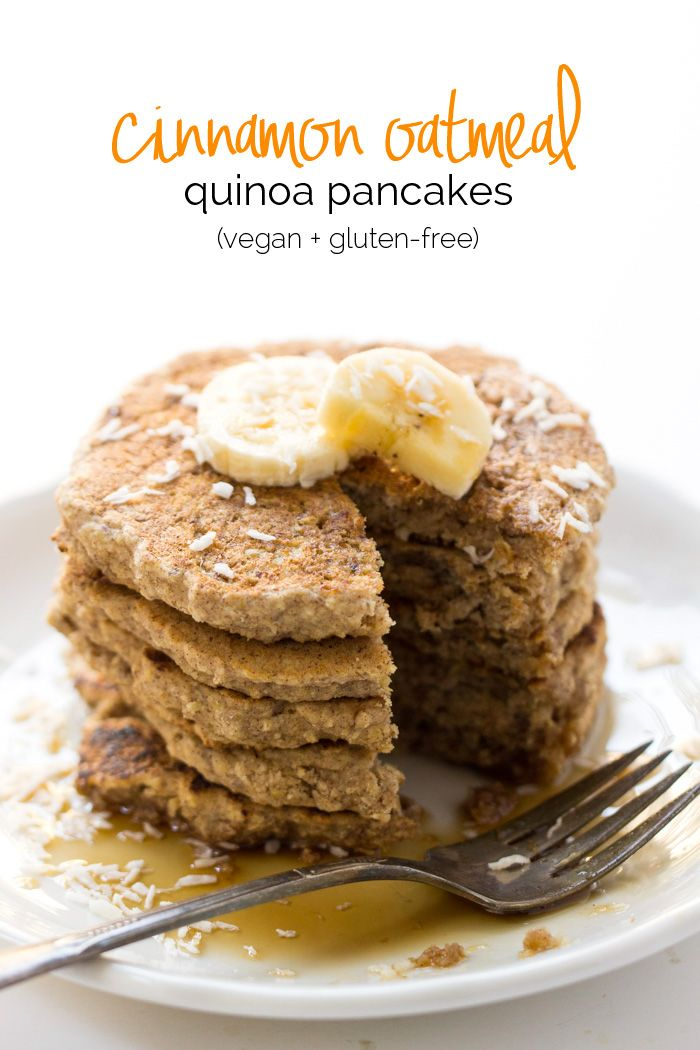 These VEGAN quinoa pancakes are filled with hearty oats, quinoa flakes and sprinkled with cinnamon | recipe on simplyquinoa.com