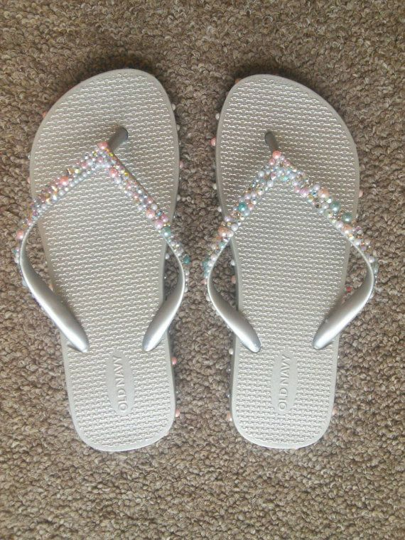 Wedding Flip Flops Wedding Shoes Wedding Flats by TyyonCreations