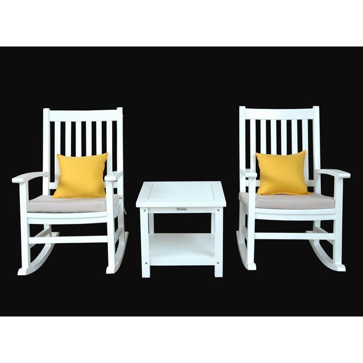 Outdoor Anderson Teak Barcelona 3 pc. White Rocking Chair Set with Optional Sunbrella Cushion - SET-P201
