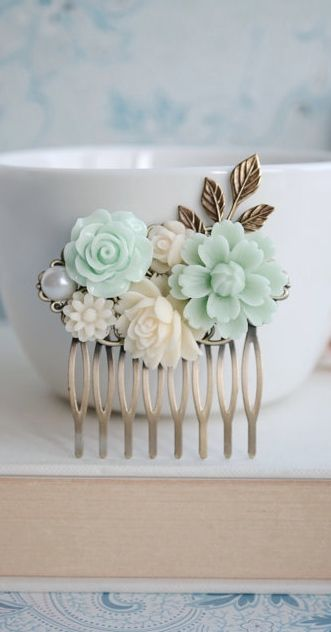 Mint Chrysanthemum, Soft Green Rose, Ivory Rose, White, Pearl, Brass Leaf, Flower Hair Comb. Bridesmaids Gift, Hair Accessory. Mint Wedding, https://www.etsy.com/listing/160672138/mint-chrysanthemum-soft-green-rose-ivory?ref=shop_home_active_19&ga_search_query=mint