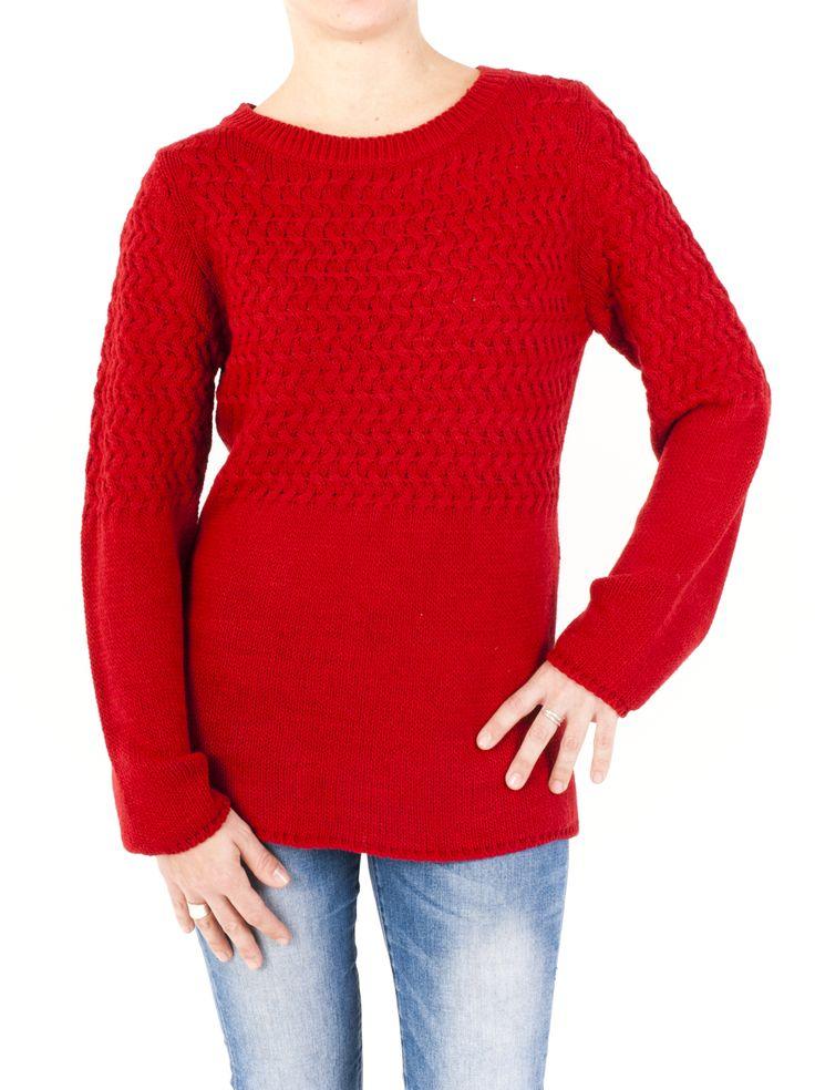Jersey básico de mujer de punto trenzado y cuello redondo. Manga larga y cuello en canalé. Diseño original y en 4 colores para llevartelo a casa ahora.