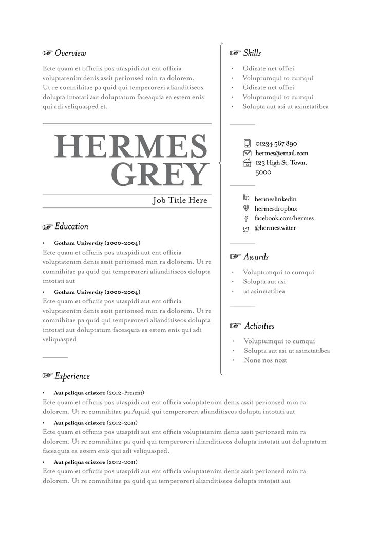 our hermes resume template available in grey black and blue from wwwtopnotchresumes - Functional Resumes Templates