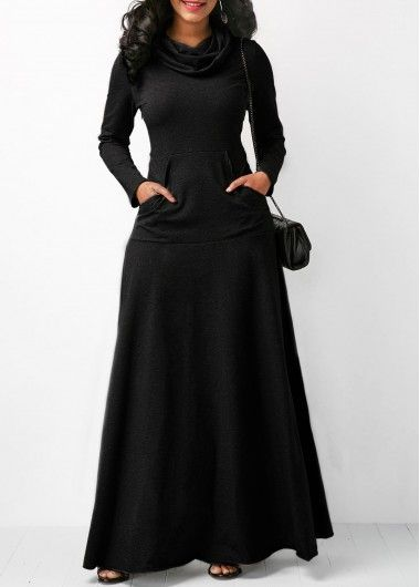 Black Cowl Neck Long Sleeve Maxi Dress on sale only US$33.95 now, buy cheap Black Cowl Neck Long Sleeve Maxi Dress at liligal.com