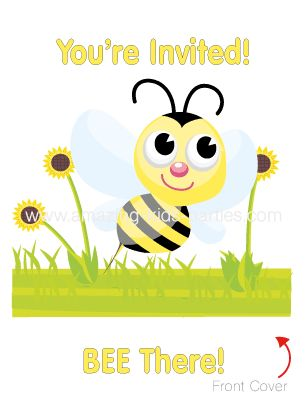 FREE Bumble Bee Party Invitation Set from amazing-kids-parties.com