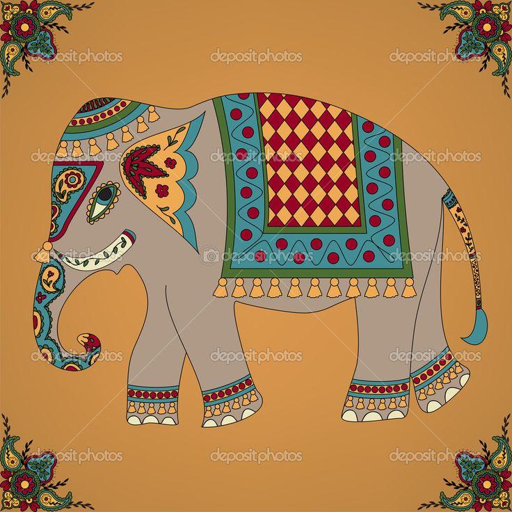 индийский слон — Стоковая иллюстрация #23243344