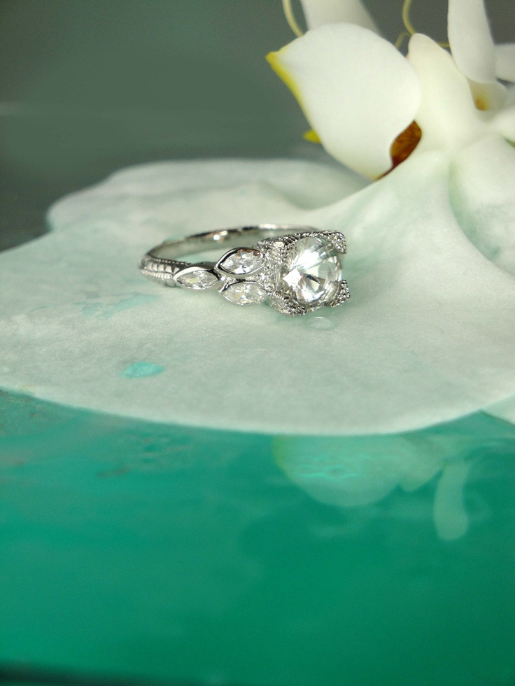 herkimer diamond engagement ring and white topaz sterling silver lily design 175 - Sterling Silver Diamond Wedding Rings