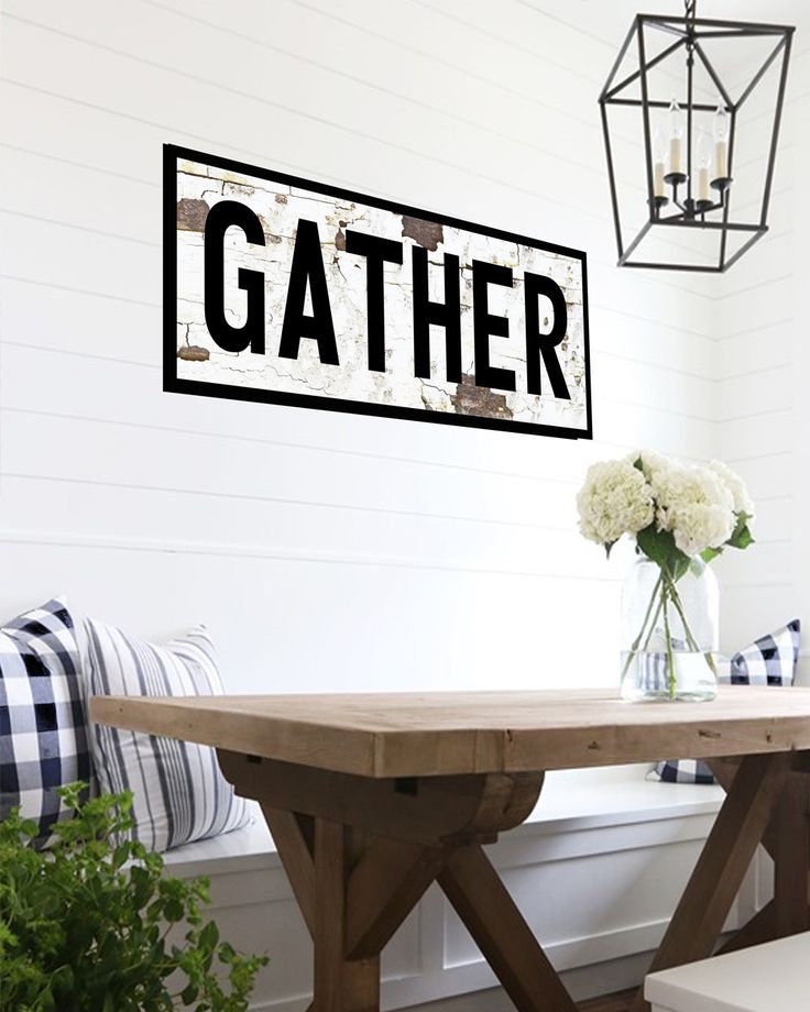 Looking for the farmhouse fixer upper style in your home? Ad the vintage-look with our canvas GATHER sign for your home, kitchen or gift. Perfect for housewarming, wedding or birthday gift for that ha