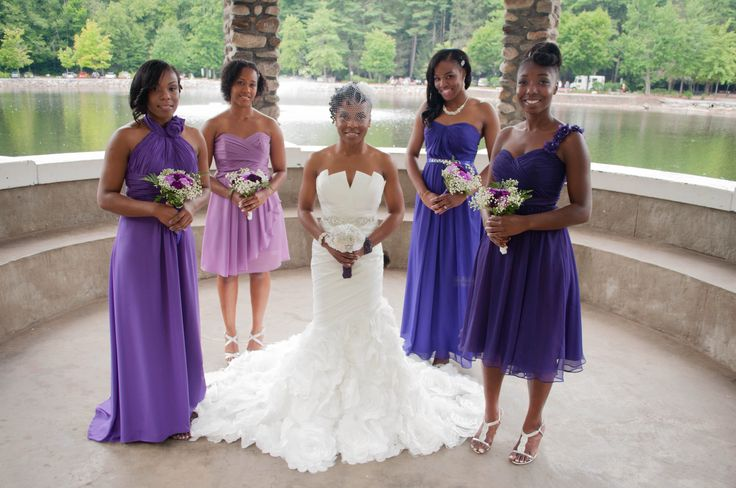 Shades Of Purple Wedding Theme Bridesmaid In Diffe Their Choice And Various Lengths Silver Shoes Purpl