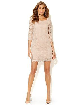 Lace Shift Dress from New York & Company - this with a jean jacket for fall! Perfect..