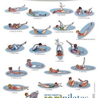 basic pilates chart  exercise  pinterest