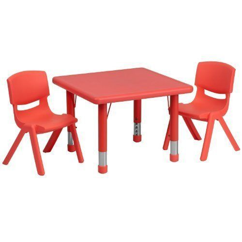 Kids Table And Chairs Set Activity Dining Room Plastic Party Play Round Red #Unbranded