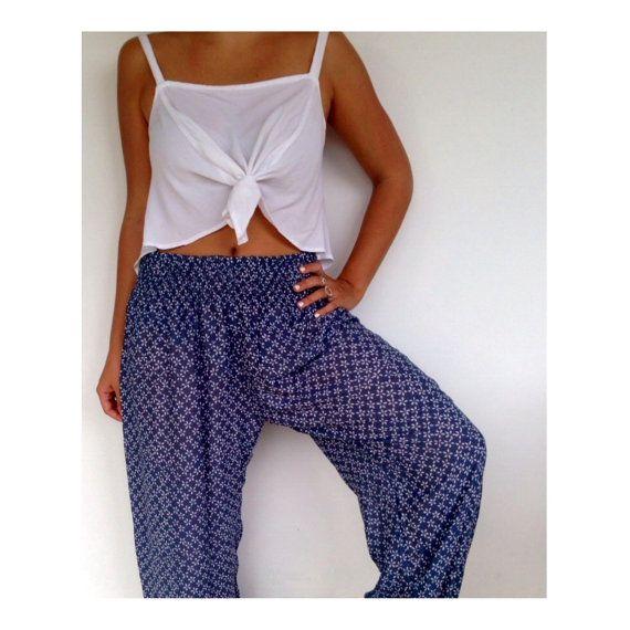 Ladies Yoga Pants  Navy & White Daisy Print Hippie by ljcdesignss