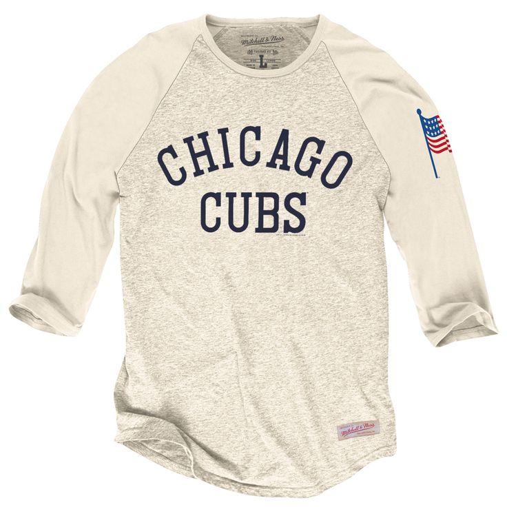 Chicago Cubs Cream ¾ Sleeve Raglan T-Shirt  #ChicagoCubs #Cubs #MLB #FlyTheW