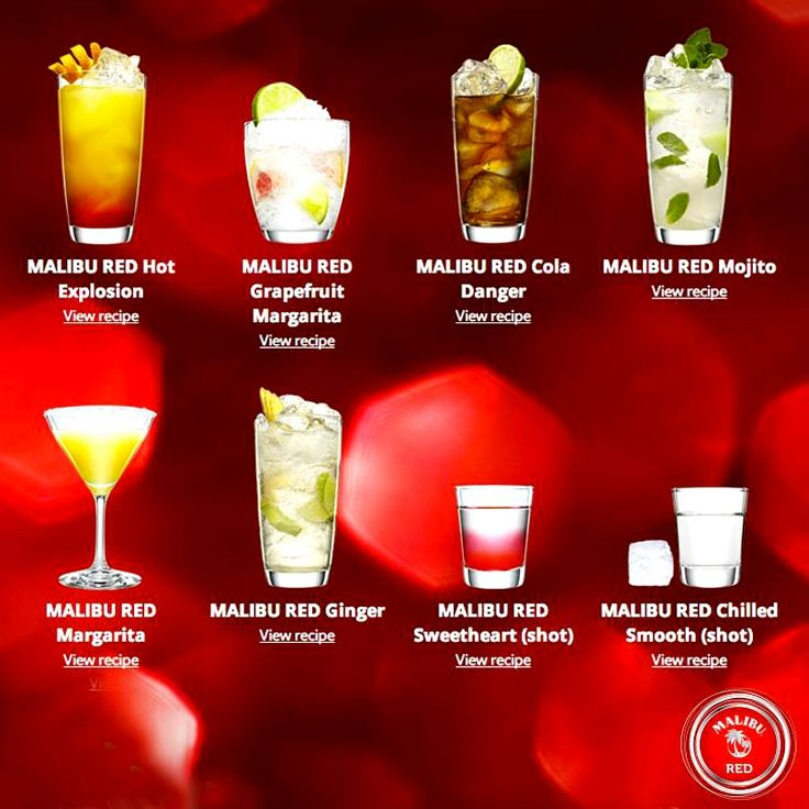 Malibu Red Drinks: 1 part Malibu Red; 2 parts Tonic; Splash of cranberry over ice