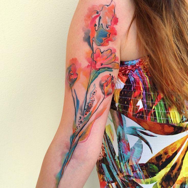 Bunte #Tätowierung für #Frauen mit #Watercolor Effekt – rina23