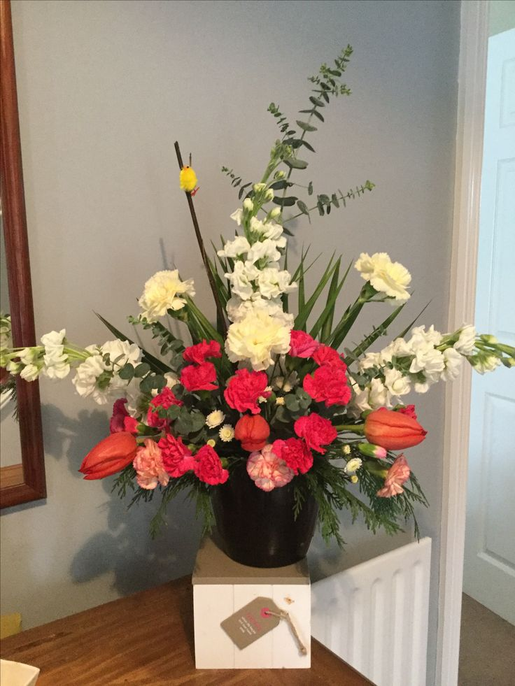 Tulips, carnations and stock.