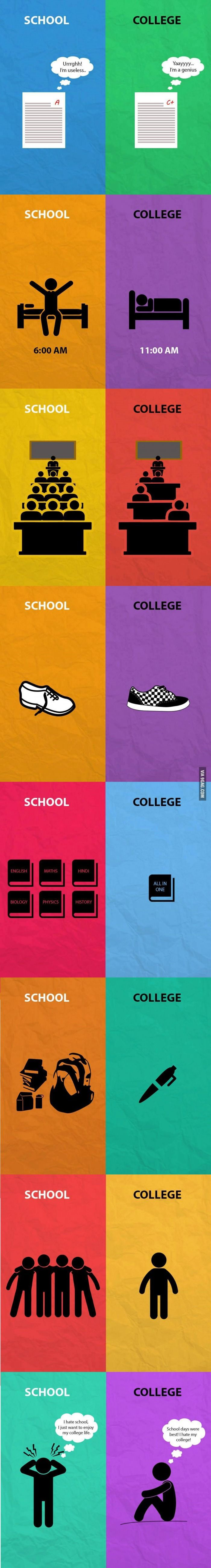 School Life vs College Life Accurately Explained In Simple Graphics