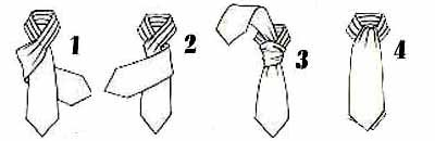 Nudo de pañuelo, que más que un nudo es una lazada. Queda perfecto con corbatas muy anchas y con pañuelos.
