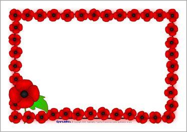 Remembrance Day poppy A4 page borders (SB1778) - SparkleBox. Anzac day.