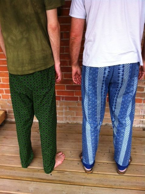 Two pairs of shweshwe pants made in one weekend! Rather coy models :o)