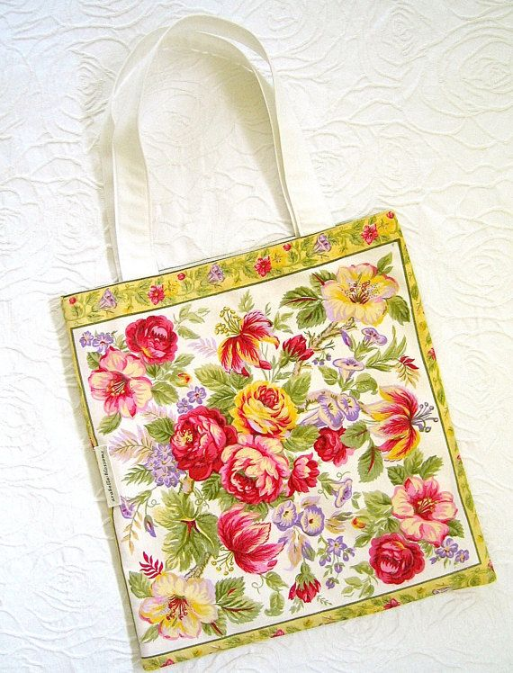 Cream Pink Floral Handmade Vintage Fabric by ArabellaBlossoms