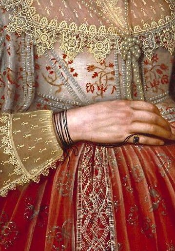 Detail of 'Portrait of a Woman in Red' by Marcus Gheeraerts II, 1620.