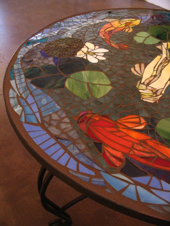 201 best koi mosaics images on pinterest beautiful for Koi fish pool table