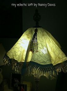 chicken wire frame lamp shade, crafts, electrical, repurposing upcycling, The ambiance is so cozy warm and inviting Once you place your chicken wire shade on you will need to adjust it with your fist to make it rounder