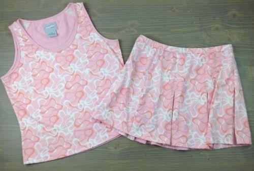 Bolle Tennis Outfit Medium Womens Sport Tank Top Sleeveless Pleated Skirt Pink