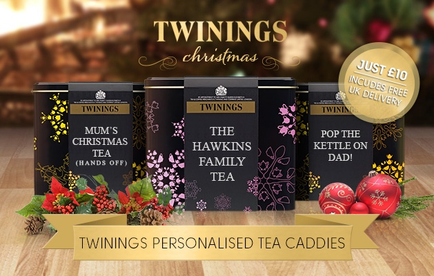 For £10 send a personalised tea caddy filled with Twinings Earl Grey Tea or Twinings English Breakfast Tea - FREE UK Delivery