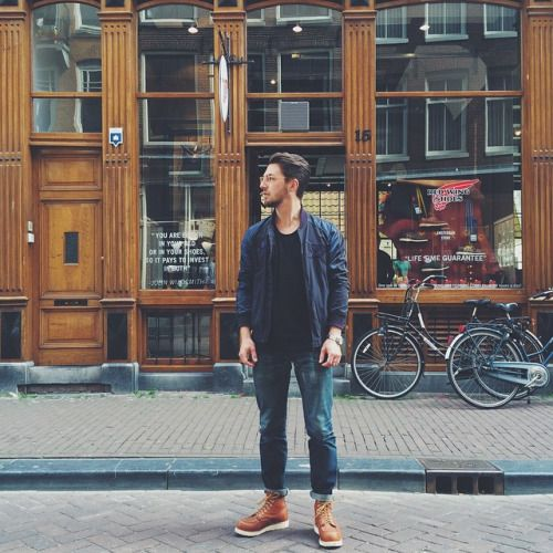 """Florian of @stookercoffee is rocking a fresh pair of Red Wing Shoes 875 6"""" Classic Moc Toe in Oro-legacy! Soon we will tell you some more about their amazing coffee!! We will keep you posted! 