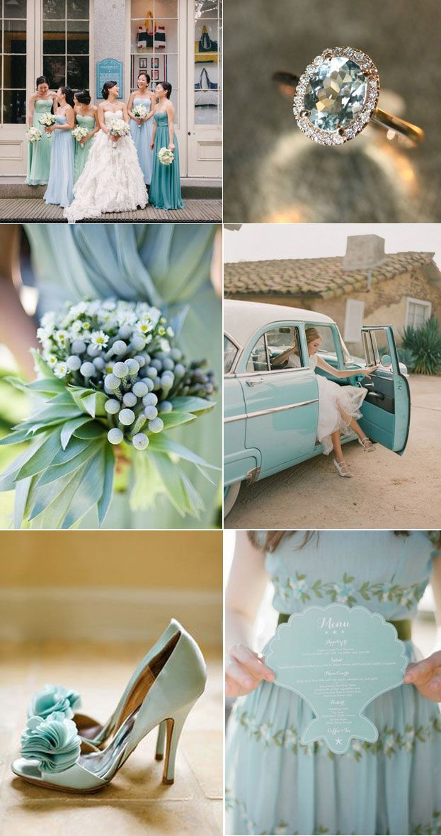 Today's inspiration is one of Pantone's 2015 Spring Fashion Colors, Aquamarine! We love this shade. It would be perfect for a beach wedding paired with a peach and a gray! Wedding inspiration from Lucky in Love Wedding Planning Blog