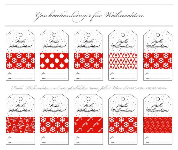 """Free Christmas Tags DEUTSCH """"Frohe Weihnachten"""" zum ausdrucken. Kostenlose Hang Tags / Geschenkanhänger DIY"""