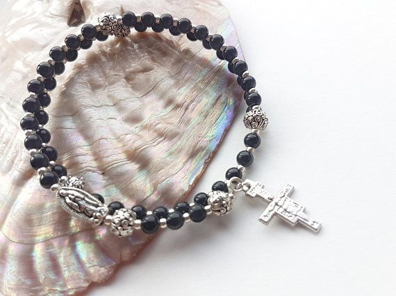 Black 5 Five Decade Rosary Wrap Bracelet Catholic Uni Mans Womans Rosaries Guadalupe San Damiano Crucifix And