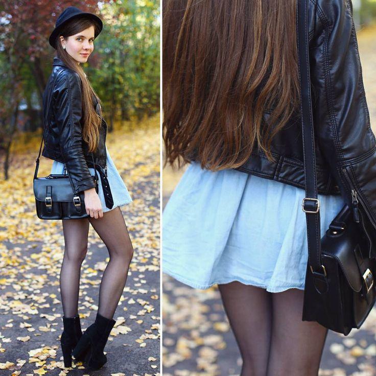 """November 2014 #nomakeup  #poznan #poznań #polishgirls #denimdress #blackhat #blackbag #blackboots #blacktights #pantyhose #nylons #stockings #longlegs…"""