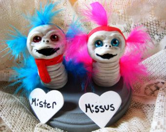 Ello Worm Cake Topper/ Mr. and Mrs./ The Labyrinth / Jim Henson / Jareth/ David Bowie  I so want these!