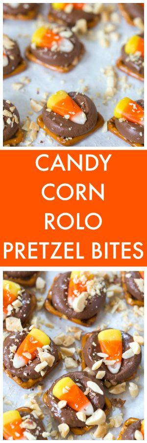 Candy Corn Rolo Pretzel Bites-Richie would LOVE these!!!