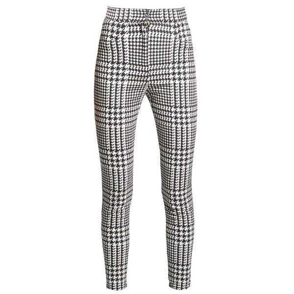 Balmain Hound's-tooth check skinny-leg trousers ($1,028) ❤ liked on Polyvore featuring pants, black white, cocktail pants, white and black pants, balmain pants, checked pants and holiday pants