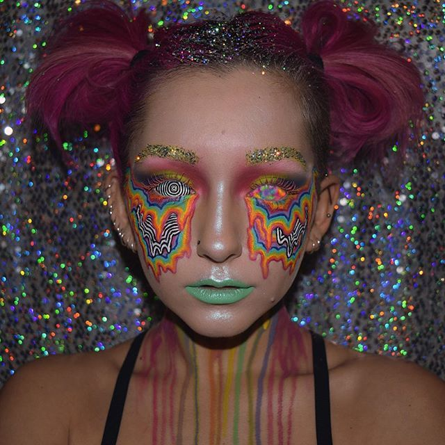 WEBSTA @ nerissamakeup - Day 47 #100daysofmakeup Acid trip ✨ also thank you to a few of you for telling me the name of the artists photo I was inspired by!! @jenstark !!!!!!! YO I did this look on my insta story of ya wanna see how I did it  (and no I'm not supporting it or think it's cool to do drugs just felt like the name suited this look)Using @mehronmakeup paradise paints, @katvondbeauty @thekatvond mividaloca palette, @urbandecaycosmetics electric palette, @patmcgrathreal nude sk...
