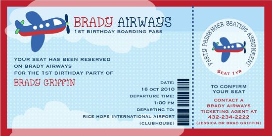 Cute Airplane Party Invitation: Airline Ticket, 1St Birthday Parties, 1St Bday, Airplane Themed, Airplane Birthday Parties, Invitation, 1St Birthdays, Party Ideas, Birthday Ideas