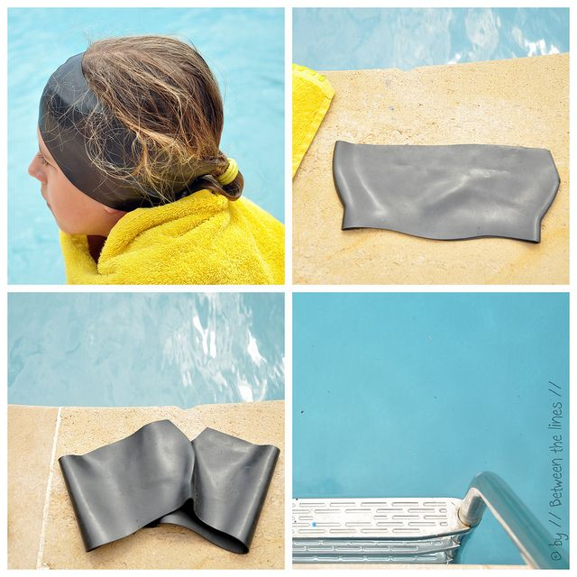 Do your kids get swimmers ear but don't want to wear ear plugs or swimming cap? DIY Swimming Ear-Band cut top of swimming cap and Bam!!!  by // Between the Lines