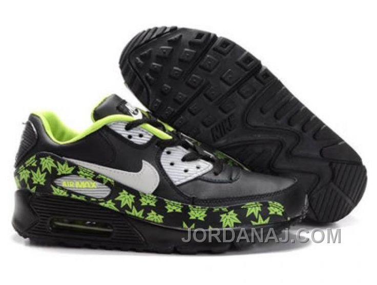 Ken Griffey Shoes Nike Air Max 90 Black Light Green Maple Leaves [Nike Air  Max 90 - Vivid light green maple leaves printed along the supportive  overlays ...